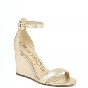Sam Edelman Neesa Wedge Sandals Gold 12 Open Toe